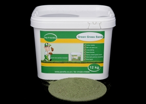 Photo of a bucket of green grass sand